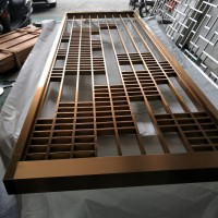中式屏风 拉丝玫瑰金不锈钢隔断定做厂